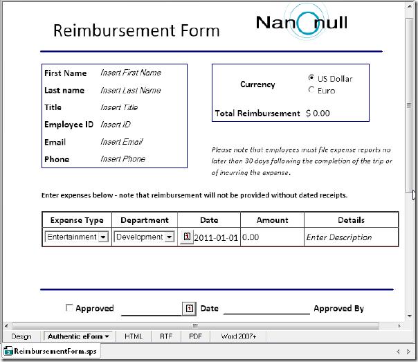 reimbursement form word Template – Reimbursement Form Template